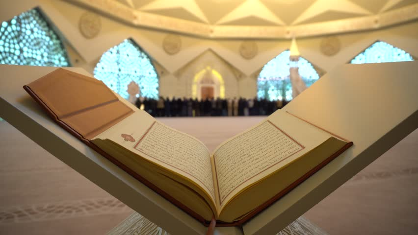 2- Koran or Quran - holy book and noon prayer in congregation male Muslims sacred Mosque with Sound ISTANBUL, TURKEY - MARCH 2018   Shutterstock HD Video #1009711100