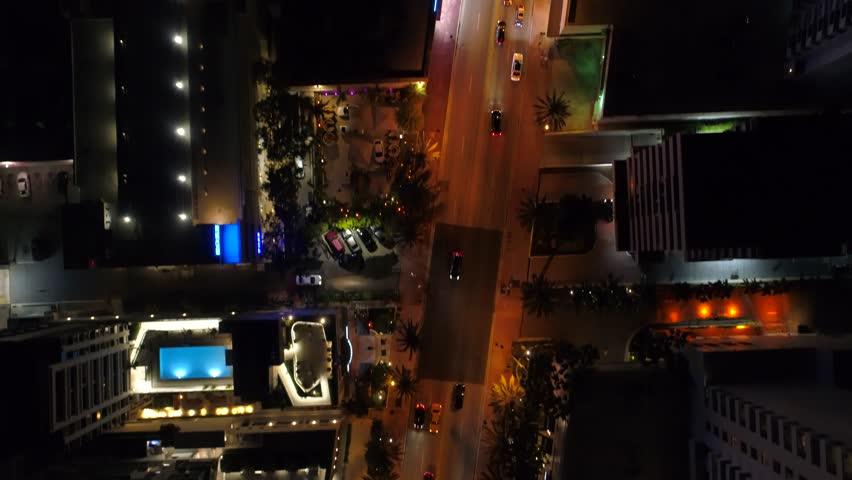 City lights direct overhead aerial video 4k Miami
