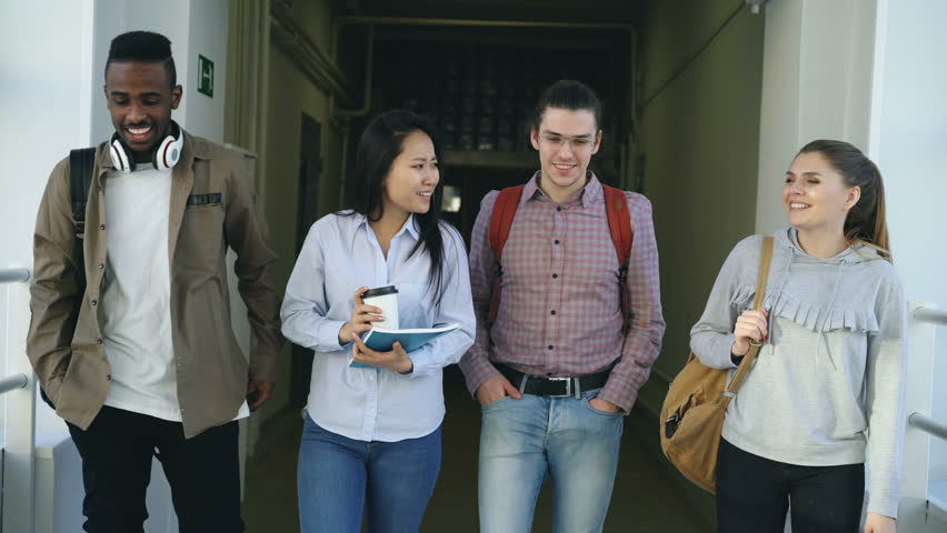 Mutli-ethnic group of male and female students are walking in big corridor of university discussing study smiling and laughing talking to each other positively Royalty-Free Stock Footage #1009744058