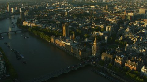 Aerial view commuter traffic Westminster Bridge sunrise over Big Ben Houses of Parliament Westminster Abbey London England UK RED WEAPON