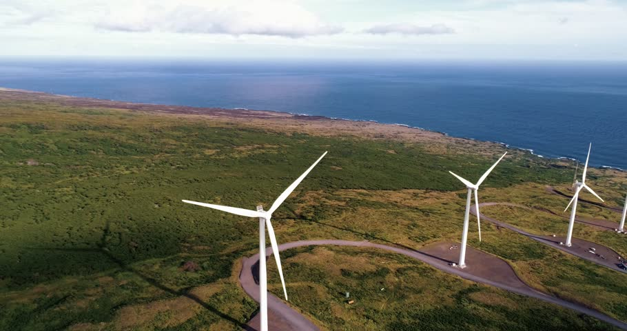 Aerial view of windmills on hawaii. Concept of renewable energy, wind power, climate change. #1009749275