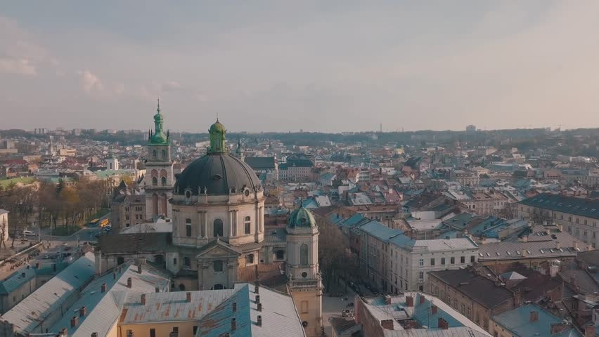 LVOV, UKRAINE. Panorama of the ancient city. The roofs of old buildings. Ukraine Lviv City Council, Dominican Church, Town Hall, the tower. Streets Arial.