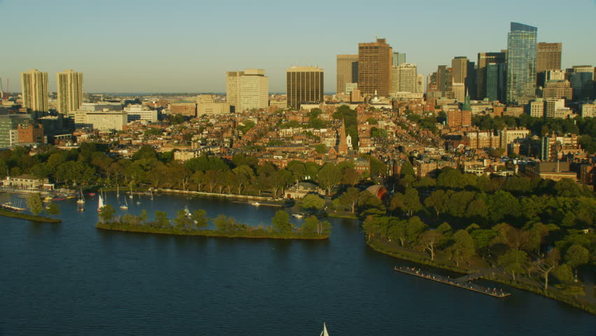 Aerial view of Metropolitan Boston suburbs and city skyscraper skyline an historic capitol of learning and Colonialism Massachusetts USA