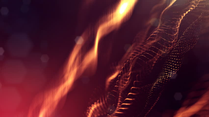 3d loop animation as science fiction background of glowing particles with depth of field and bokeh for vj loop. Particles form line and surface grid.  | Shutterstock HD Video #1009790960