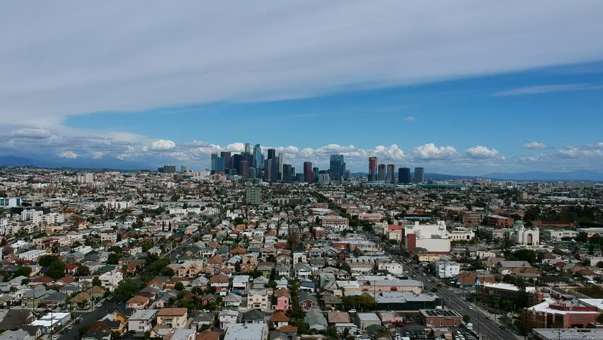 Smooth HD Drone approach of Los Angeles City skyline