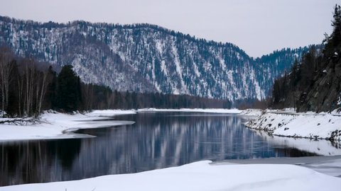 Altay turquoise river Katun in winter