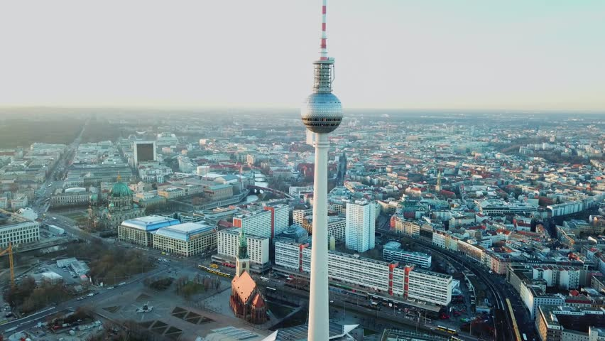 Berlin, Germany. Aerial shot of TV Tower on Alexanderplatz