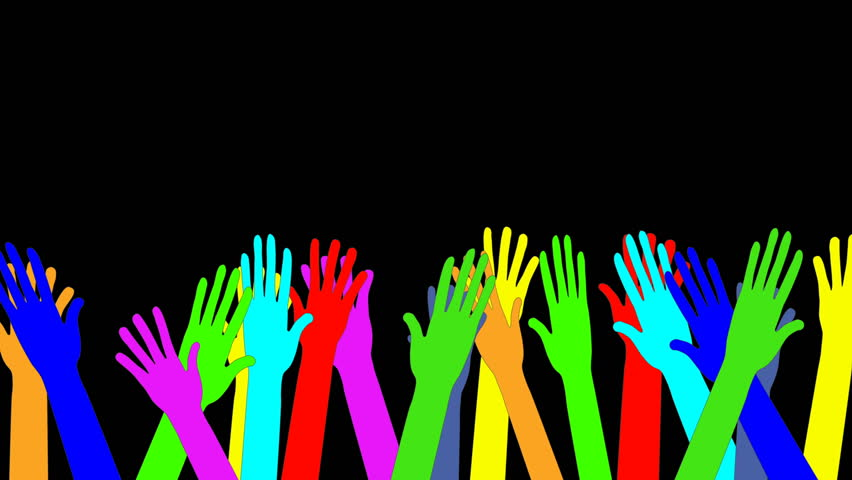 Sea of colorful waving raised hands. Animation. Concept of joy, goodbye, greeting, diversity, welcome. Black background. Copy space.