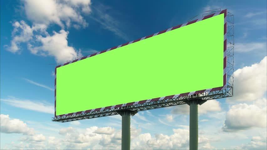 Billboard green screen with moving clouds blue sky . time lapse  4K Resolution | Shutterstock HD Video #1009876043