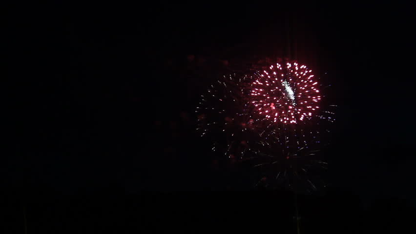 Colorful fireworks at holiday night, dark sky. | Shutterstock HD Video #1009876826