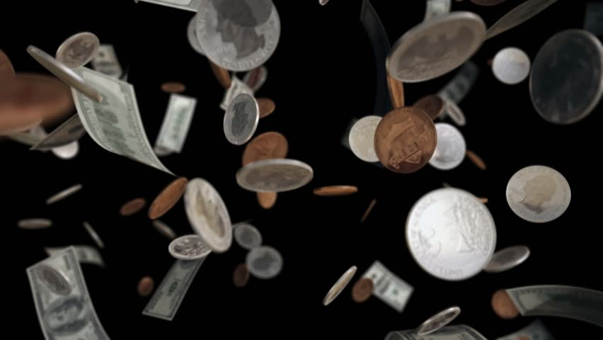 Falling Dollar banknotes and coins loopable with alpha matte. 0ne hundred dollar bills, quarters and pennies falling from top over black background. Video is Seamlessly Loopable