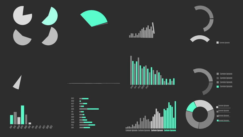 Various Animated Infographics Charts as HUD head-up display  with alpha channel included for Luma mate. Technology, Science, Data Analysis, Business, Finance or Economy background use.