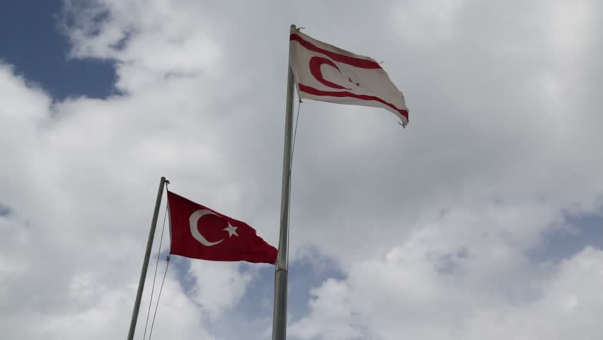 In north of cyprus the waving flag in the sky