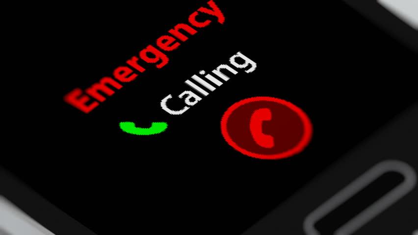 Calling Emergency Services on Smartphone. Seamless Loop.