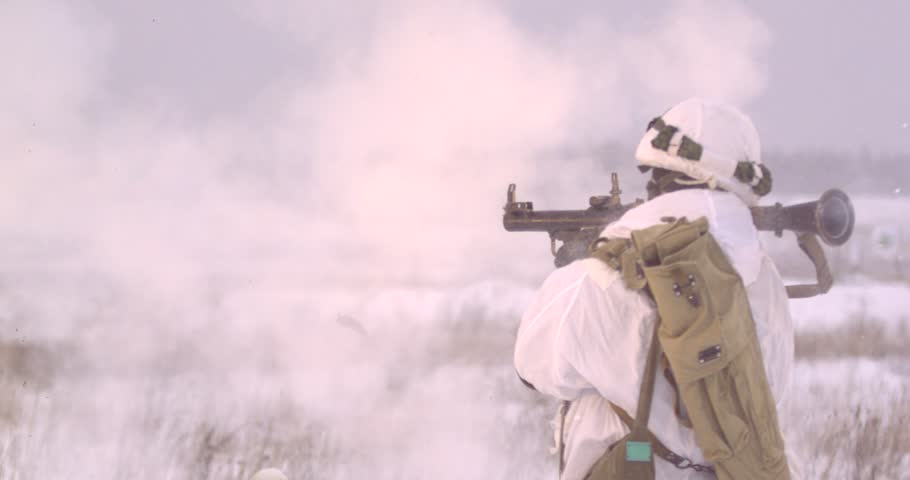 Bazooka,grenade launcher Shooting from grenade launchers of different types and types Slow motion 2000 frames per second