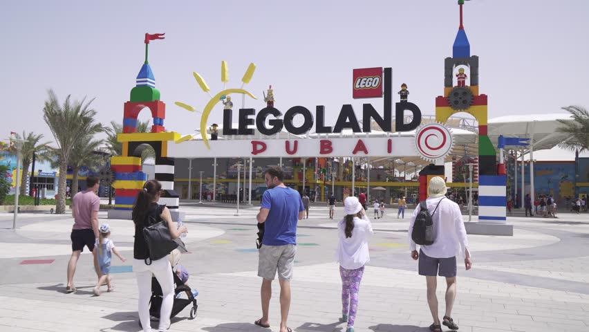 Dubai, UAE - April 01, 2018: Dubai Legoland at Dubai Parks and Resorts stock footage video