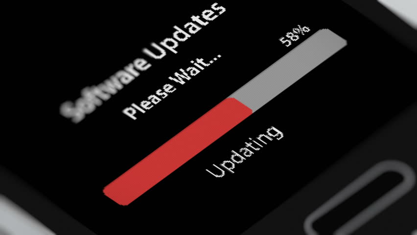 Software Update Process Animation on Smart Phone Screen.