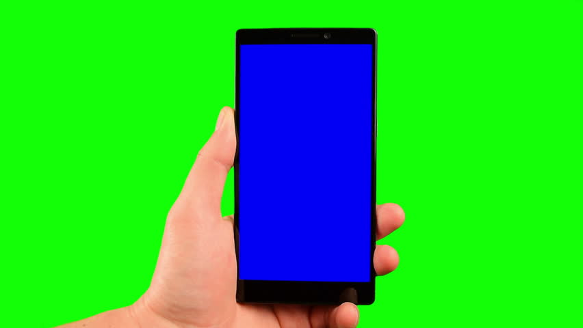 Phone in the hand close up isolated at green background. Phone screen is blue chroma key, background chroma key green screen. Footage for mobile ads, app promo. FullHD 16:9 vertical smartphone screen.