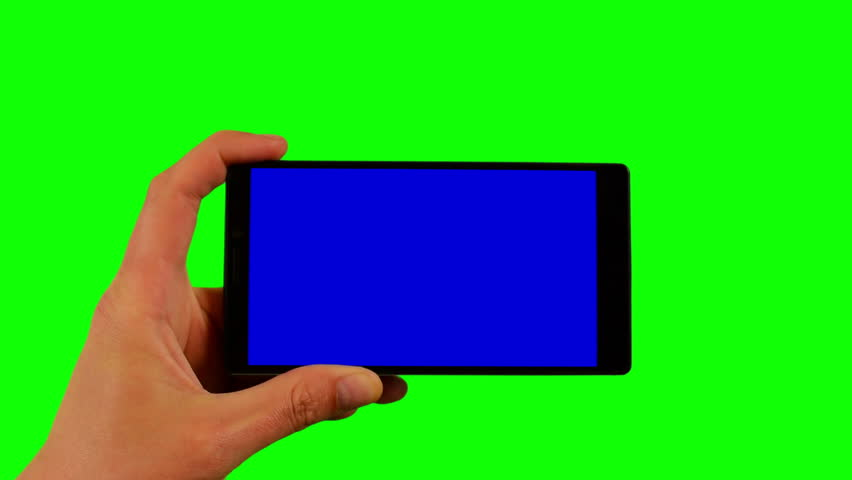 Phone in the hand closeup isolated at green background. Phone screen is blue chroma key, background chroma key green screen. Footage for mobile ads, app promo. FullHD 16:9 horizontal smartphone screen | Shutterstock HD Video #1009934213