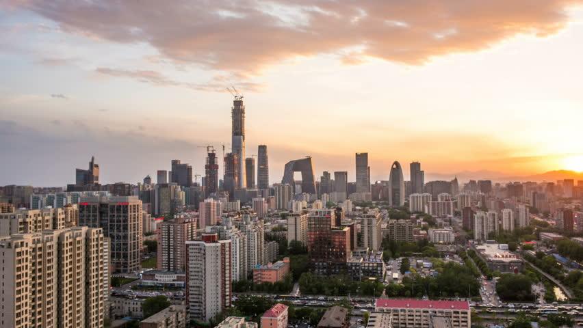 Time Lapse of Beijing Skyline at sunset,Beijing,China.   Shutterstock HD Video #1009937543