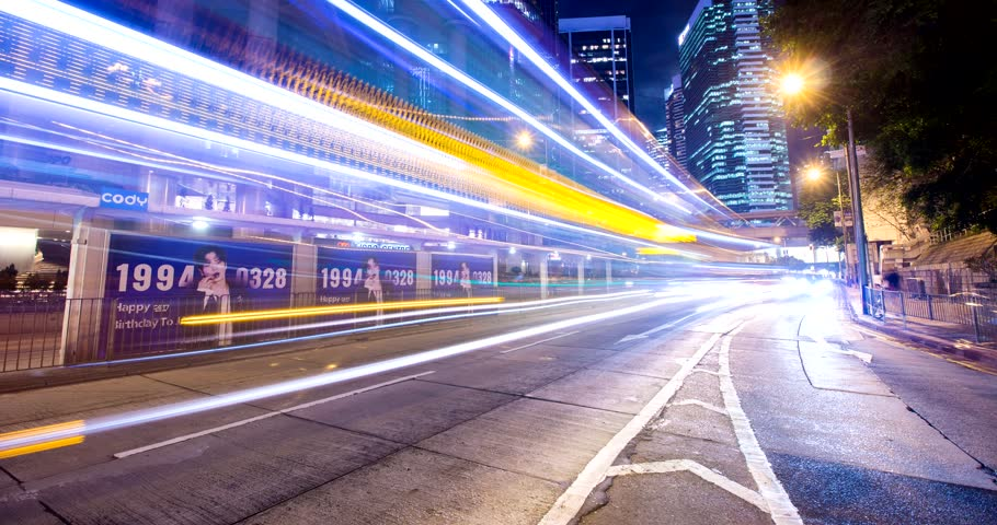 Central, Hong Kong, 10 April 2018:- Timelapse of Hong Kong traffic in city at night | Shutterstock HD Video #1009941479