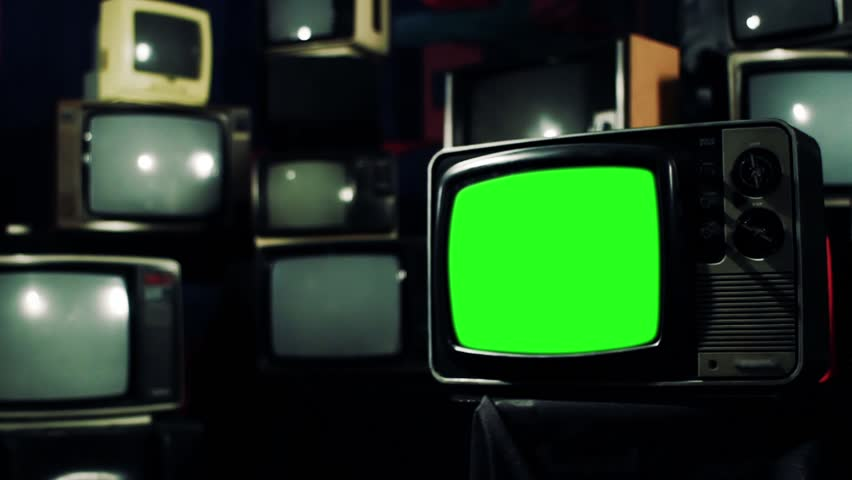 "80s Television with Green Screen. Contrast Tone. Zoom Out. You can replace green screen with the footage or picture you want. You can do it with ""Keying"" effect in After Effects. 