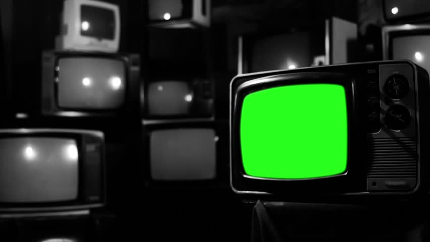 "TV of the 1980s with Green Screen over a Retro TV Wall. BW Tone. Zoom Out. You can replace green screen with the footage or picture you want. You can do it with ""Keying"" effect in After Effect. 