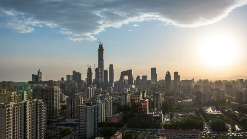 Time Lapse of Beijing Skyline at sunset,Beijing,China.   Shutterstock HD Video #1009961177