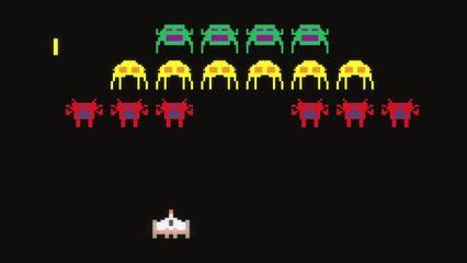 Vintage pixel art style ufo space battle video game cartoon animation