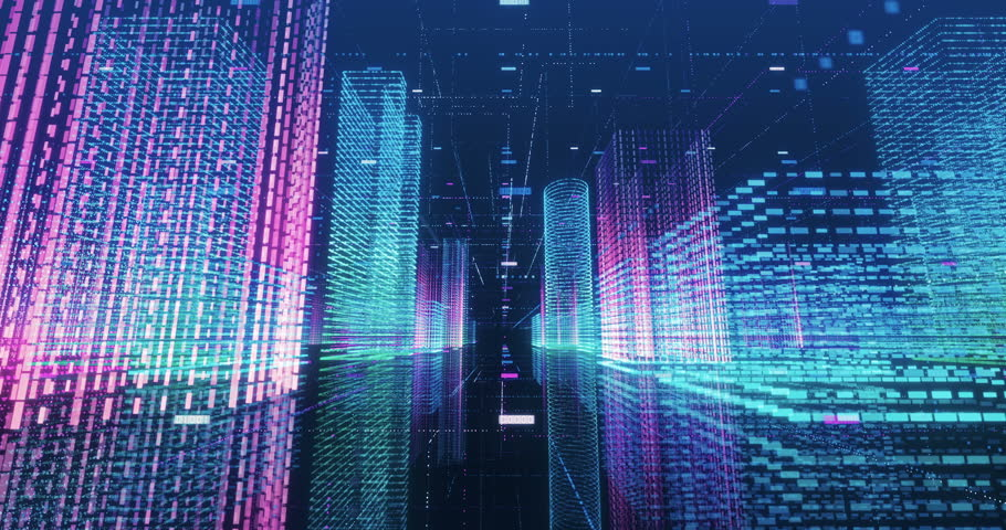 Seamless loop abstract hologram 3D city rendering with futuristic matrix. Digital buildings with a binary code particles network. Technology and connection concept.