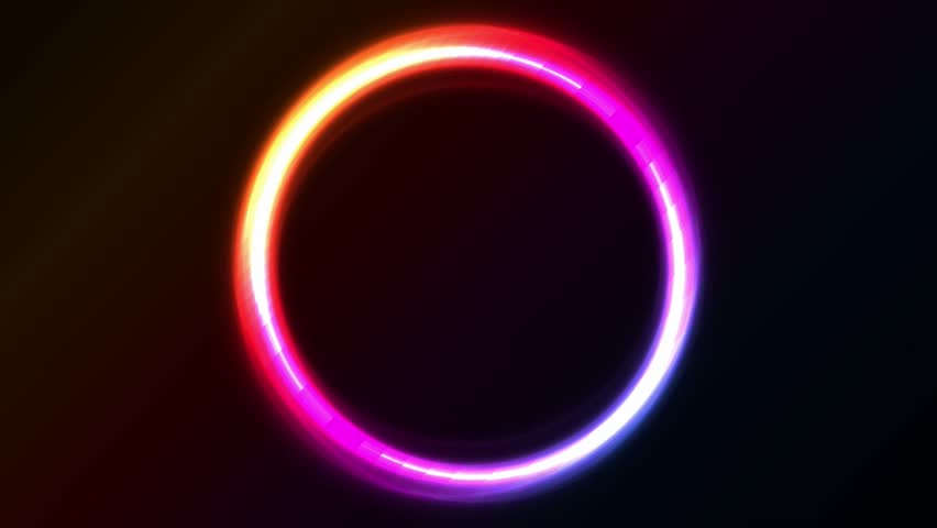 Abstract Shiny Light Circles Animation/ Animation of a loop of abstract shiny neon light circles with bright effect on black background #1009992176