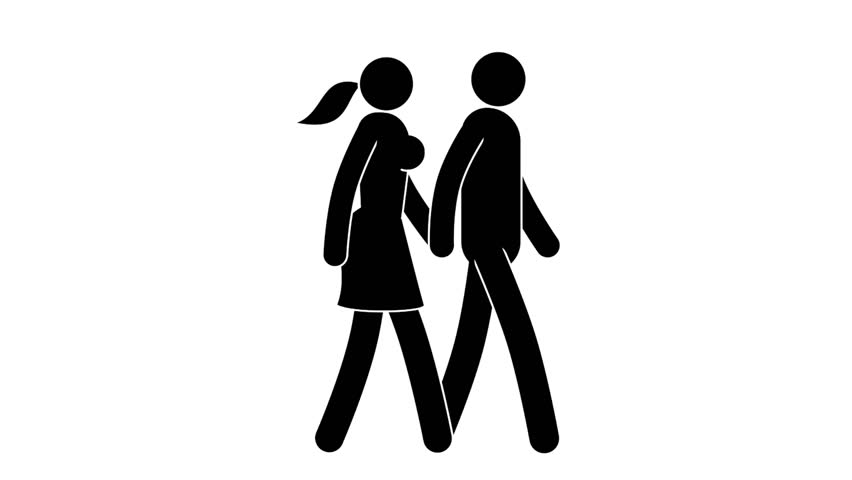 Couple Man and woman walking holding hands. Pictogram people. Loop animation with alpha channel. | Shutterstock HD Video #1010007764