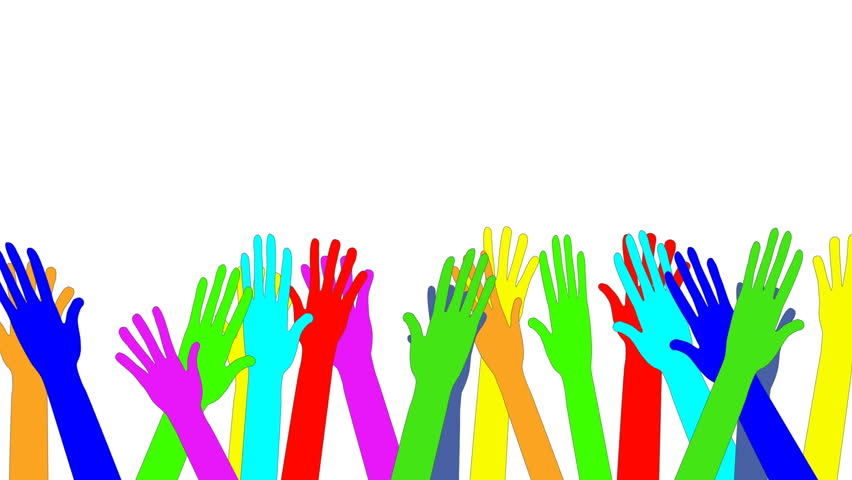 Sea of colorful waving raised hands. Animation. Concept of joy, goodbye, greeting, diversity, welcome. White background. Copy space.