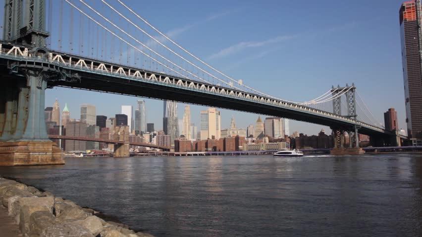 Manhattan Bridge With Boat NYC   Shutterstock HD Video #1010021231