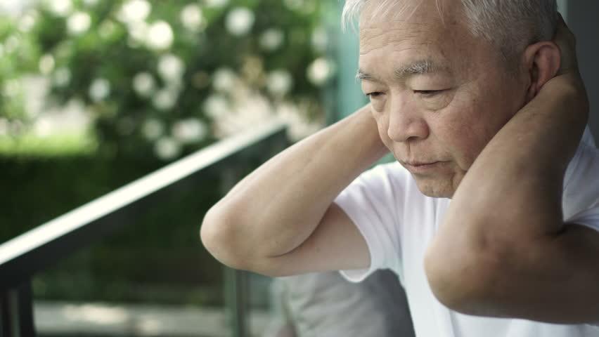 Asian senior man stress worry expression 4k | Shutterstock HD Video #1010022641