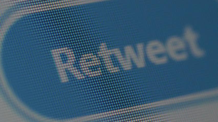 clicking retweet button on twitter social media, macro