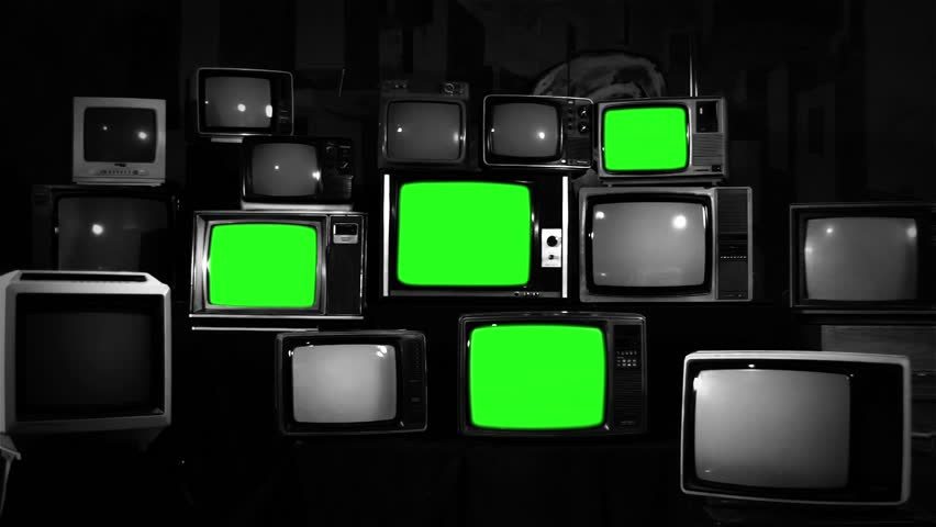 "Pile of Four Retro TVs with Green Screen. Aesthetic of the 80s. Black and White Tone. Zoom In. You can Replace Green Screen with the Footage or Picture you Want with ""Keying"" effect in After Effects. 