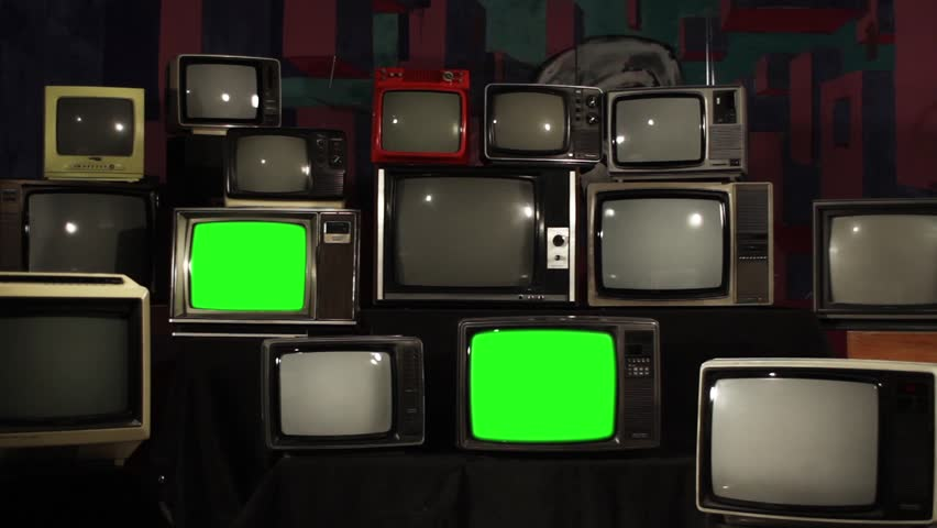 "Four 80s TVs Turning Off Green Screens. Zoom In. You can Replace Green Screen with the Footage or Picture you Want with ""Keying"" effect in After Effects (check out tutorials on YouTube). 