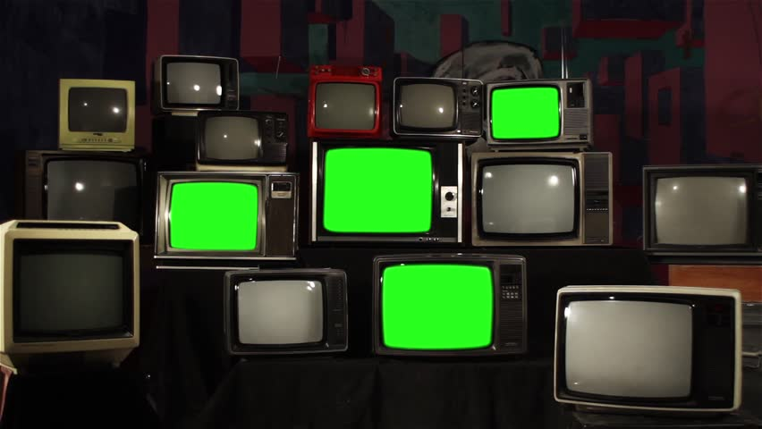 Aesthetic Televisions of the 80s with Green Screens. Zoom In. Ready to replace green screen with any footage or picture you want.  | Shutterstock HD Video #1010055188