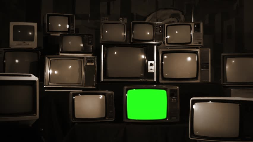 Four Sepia Toned Retro TVs Turning on Green Screen. Aesthetic of the 1980s. Zoom Out.   | Shutterstock HD Video #1010055371