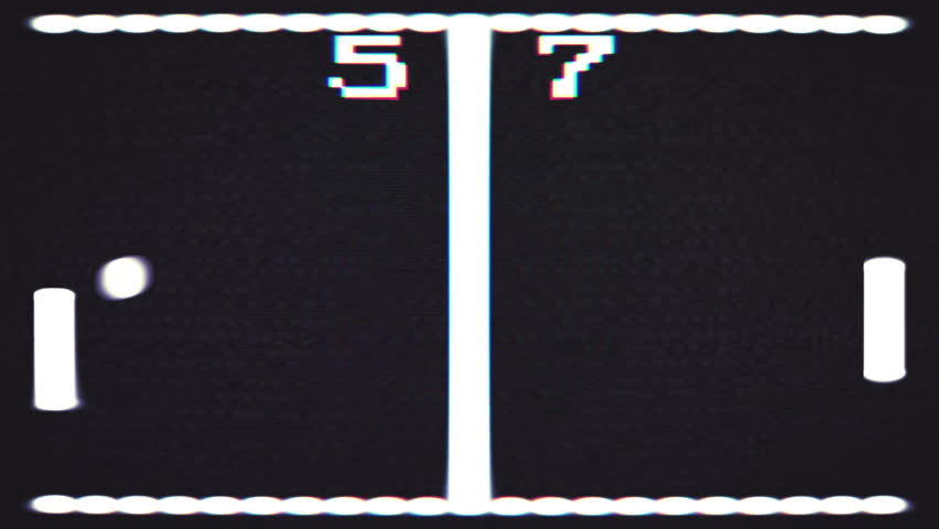 Vintage computer video game with subtle screen distortion, 4K animation