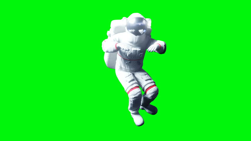 Astronaut levitation in space. Green screen. Realistic 4k animation. #1010061227