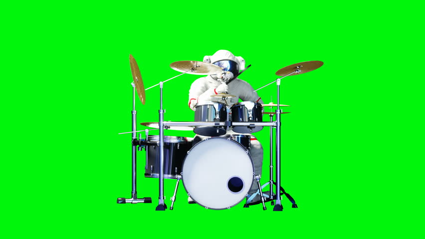 Funny astronaut play to drums . Green screen. Realistic 4k animation.