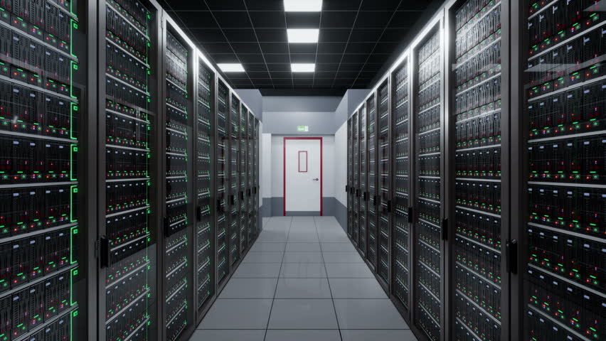 Camera fly around server room in data center. 3d cgi 60 fps loopable animation.