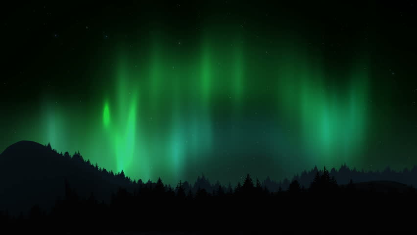 Arctic bright northern light over forest landscape. Realistic aurora borealis digital motion animation.   Shutterstock HD Video #1010071526