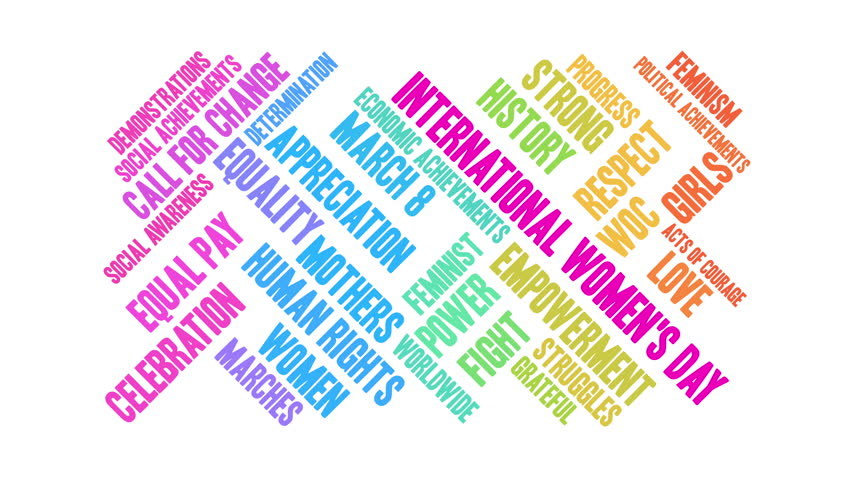 International Women's Day word cloud on a white background. Royalty-Free Stock Footage #1010077001