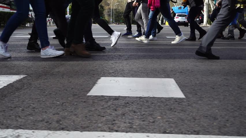 People cross the road on the crosswalk. Slow motion. | Shutterstock HD Video #1010081708
