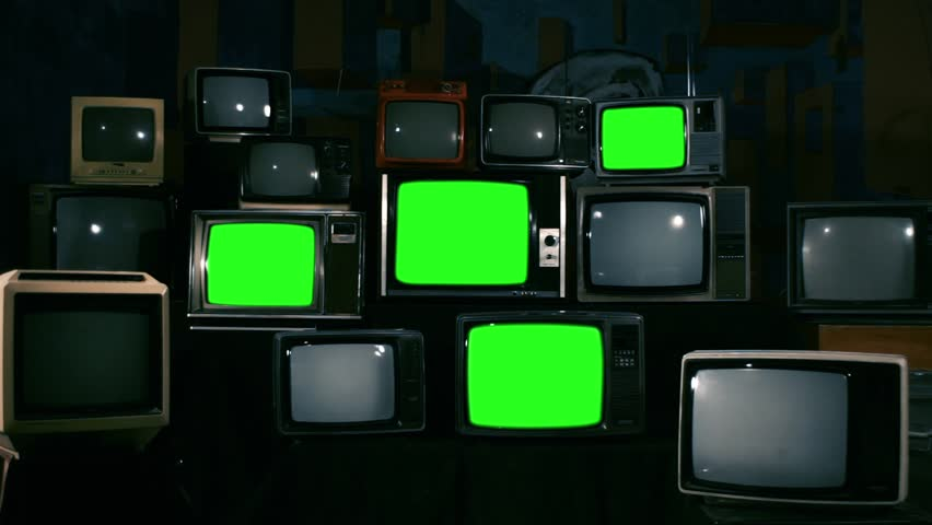 Four Old Televisions Turning Off Green Screen. Zoom In. Dark Blue Tone.  | Shutterstock HD Video #1010083448