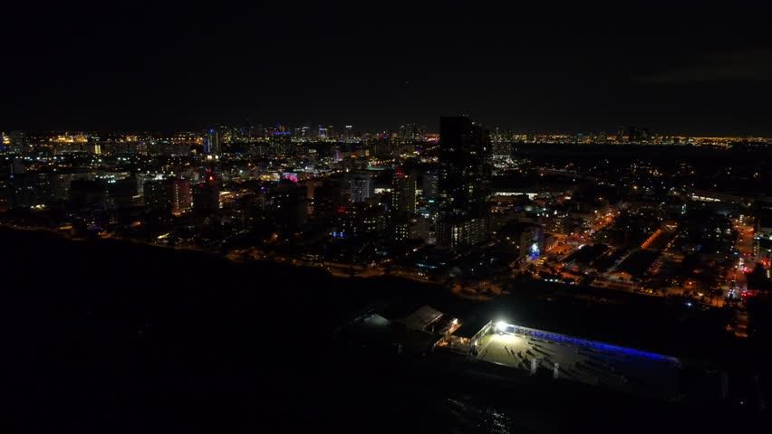 Aerial motion footage Miami Beach night 4k