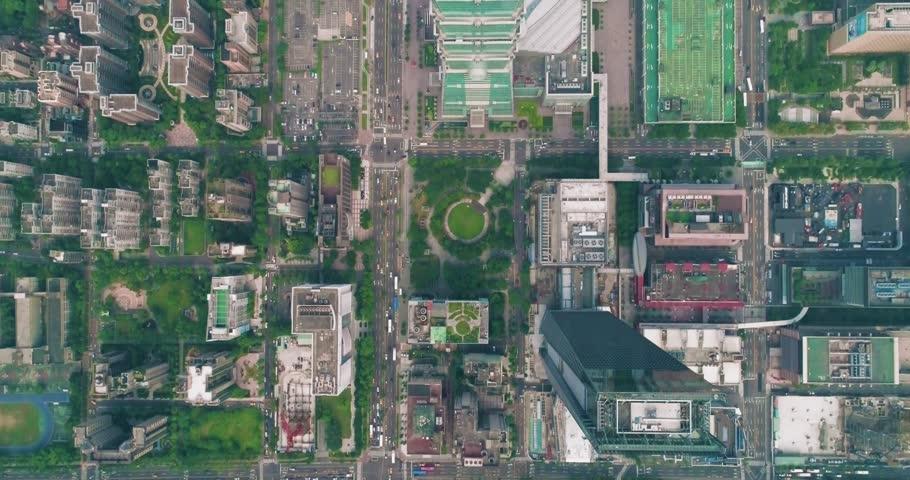 Aerial shot of finacial distict in Taipei city, Taiwan